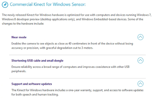 microsoft kinect pc hardware changes