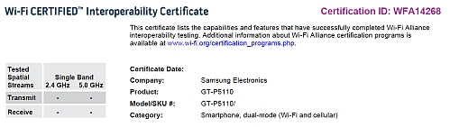 samsung 3rd-gen galaxy tab wifi certification
