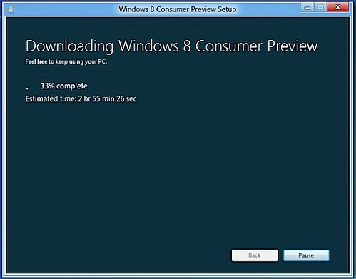 windows 8 consumer preview installation progress