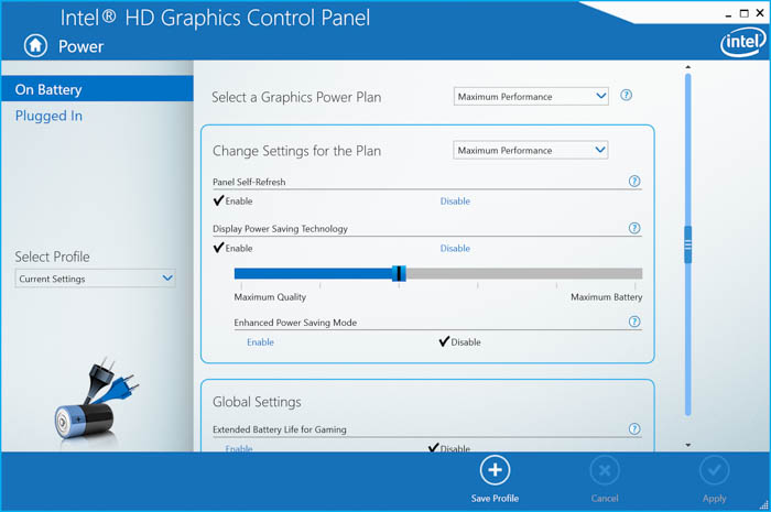 intel hd graphics control panel power settings