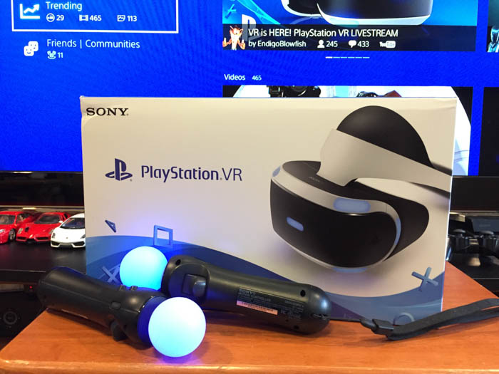 playstation vr box and move controllers