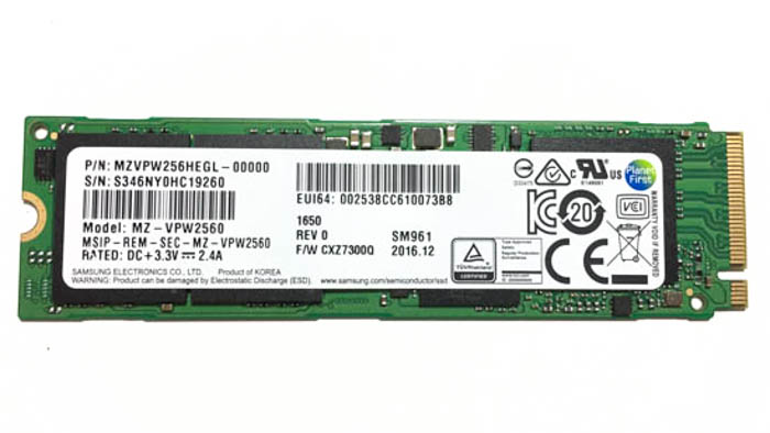 samsung sm961 256gb m.2 nvme ssd front