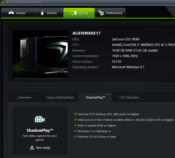 geforce experience alienware shadowplay no
