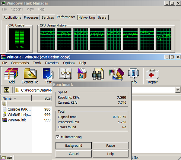 winrar multithreading benchmark