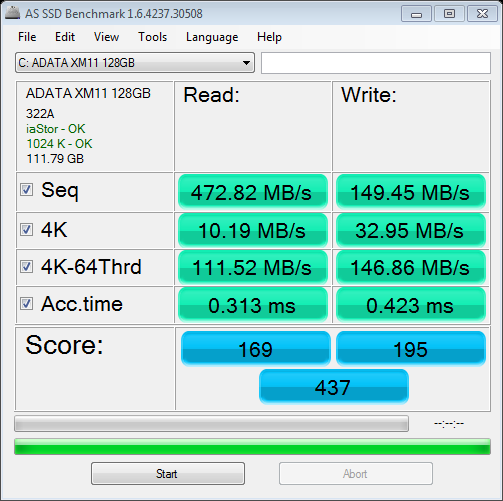 as-ssd-bench ADATA_XM11_128GB_11.30.2011_10-38-12_AM