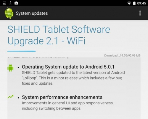 Shield Tablet gets Android 5.0.1 update