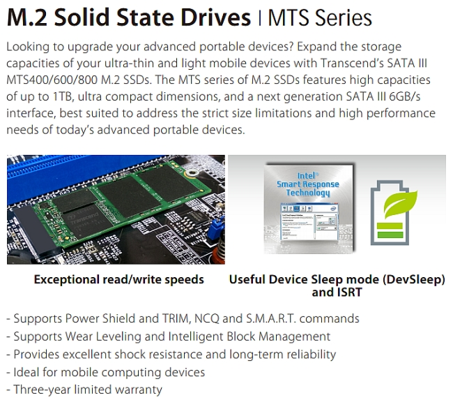 transcend mts series