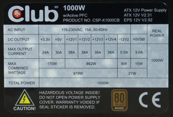club-3d-1000W-PSU-multi-rail-design
