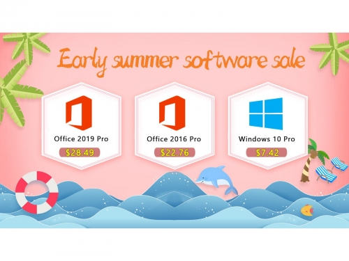 Early summer sale Windows 10 Pro $7.42 Office 2019 Pro costs $28.49