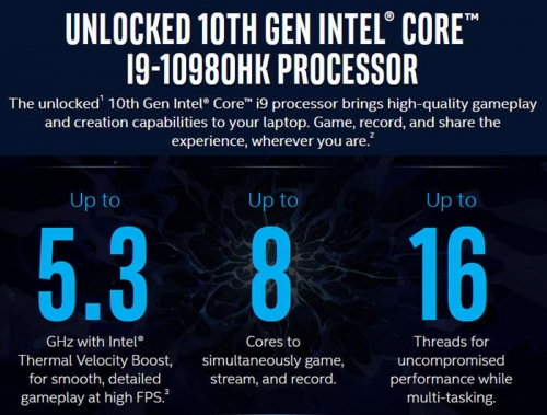 Unlocked 10th Gen Intel Core i9-10980HK spec leaked