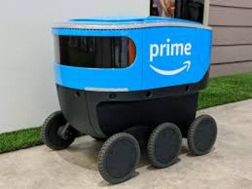 Amazon scout bots emerging from smoke filled garages