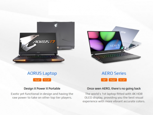 Gigabyte also updates its Aorus and Aero gaming laptops
